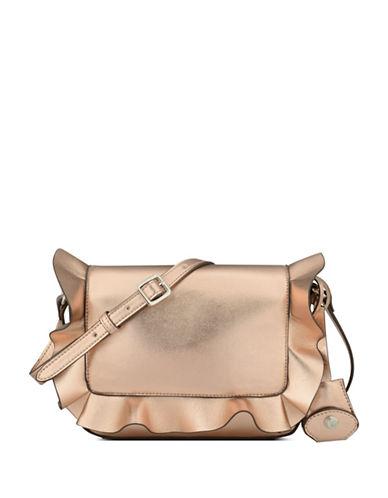 Nine West Ruffled Crossbody Bag-ROSE GOLD-One Size