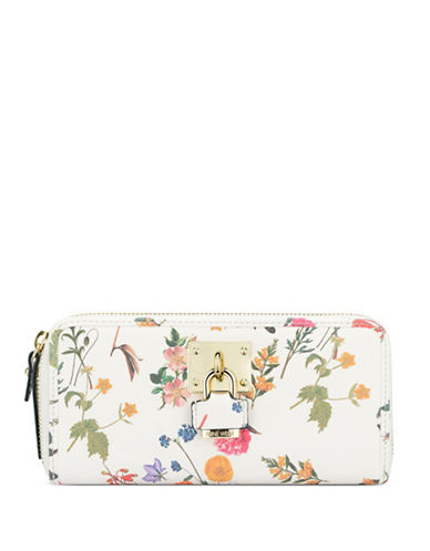 Nine West Table Treasures Zip-Around Clutch-WHITE-One Size