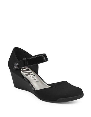 Anne Klein Tasha Wedge Sandals-BLACK-6.5