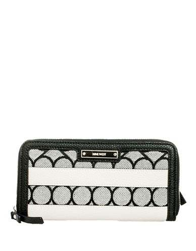 Nine West Jacquard Zip Wallet-GREY-One Size