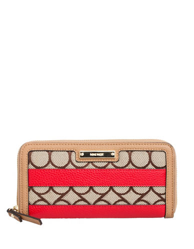 Nine West Jacquard Zip Wallet-BROWN-One Size