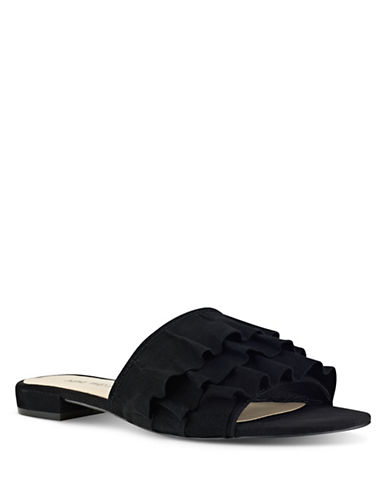 Nine West Ruffled Slide Sandals-BLACK-8