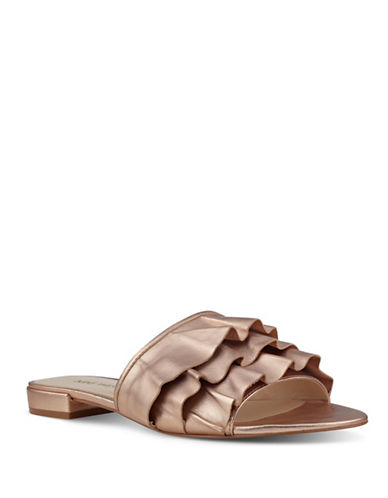 Nine West Ruffle Mule Ivarene Sandals-ROSE GOLD-7.5