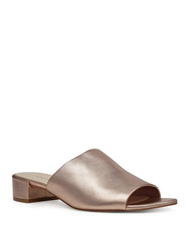 Nine West Raissa Metallic Slide Sandals-ROSE GOLD-6.5