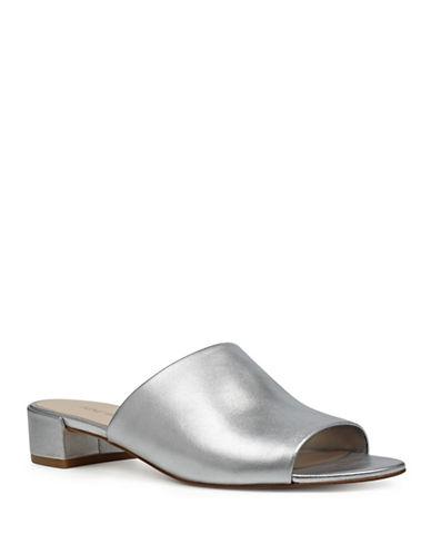 Nine West Raissa Metallic Slide Sandals-SILVER-7.5