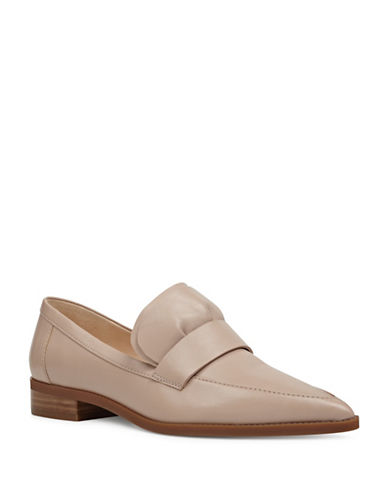 Nine West Ruffle Leather Loafers-NATURAL-7.5