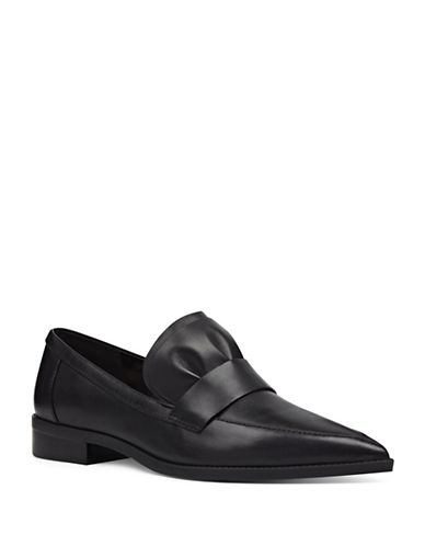 Nine West Ruffle Leather Loafers-BLACK-6