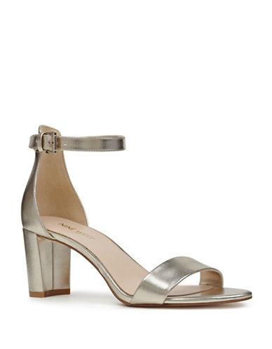 Nine West Pruce Block Heel Sandals-GOLD-7.5