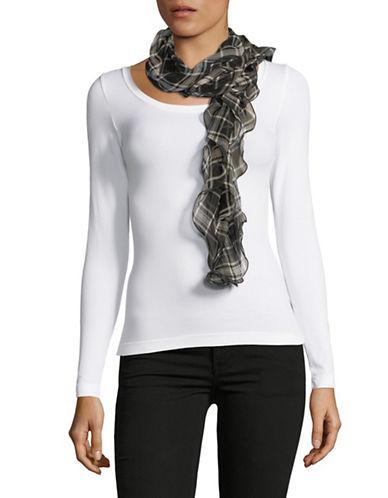 Lauren Ralph Lauren Plaid Ruffle Silk Scarf-CREAM-One Size