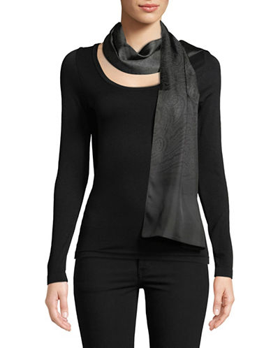 Lauren Ralph Lauren Paisley Silk Scarf-BLACK-One Size