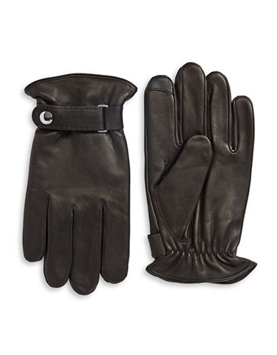 Polo Ralph Lauren Belted Napa Leather Touch Gloves-BLACK-X-Large