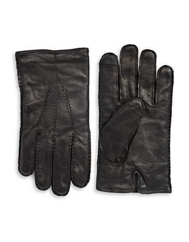 Polo Ralph Lauren Three-Point Leather Touch Gloves-BLACK-Large