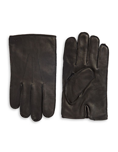 Polo Ralph Lauren Three-Point Napa Leather Gloves-BLACK-Large