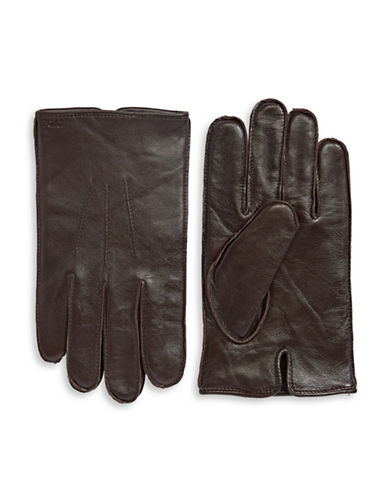 Polo Ralph Lauren Three-Point Napa Leather Gloves-BROWN-Medium