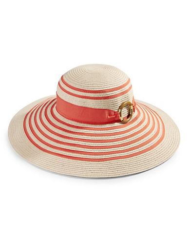 Lauren Ralph Lauren Wide Brim Stripe Sunhat-CORAL-One Size