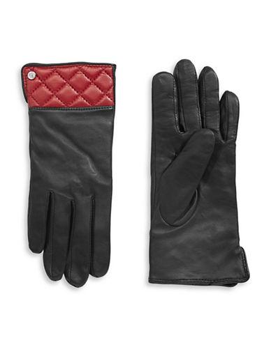 Lauren Ralph Lauren Thinsulate Leather Quilt Gloves-BLACK/RED-Medium