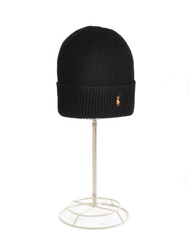Polo Ralph Lauren Signature Merino Cuff Hat-BLACK-One Size