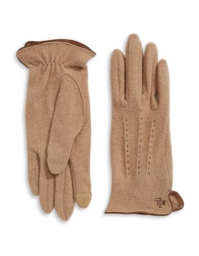 Lauren Ralph Lauren Contrast Stitch Three-Point Gloves-CAMEL-X-Large