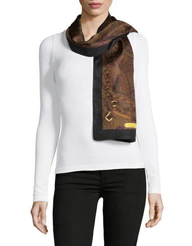 Lauren Ralph Lauren Silk Buckle Print Oblong Scarf-BLACK-One Size