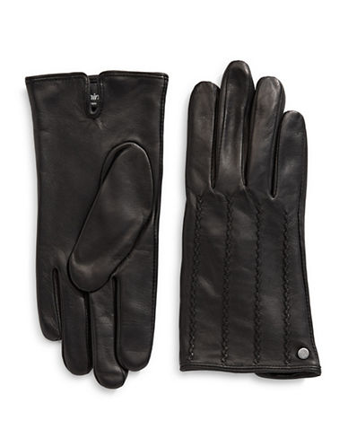 Lauren Ralph Lauren Craft Points Leather Gloves-BLACK-Large