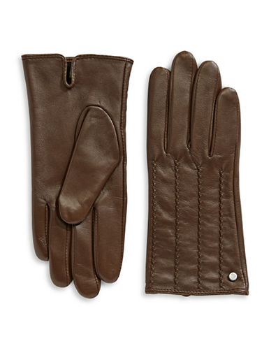 Lauren Ralph Lauren Craft Points Leather Gloves-BROWN-Large