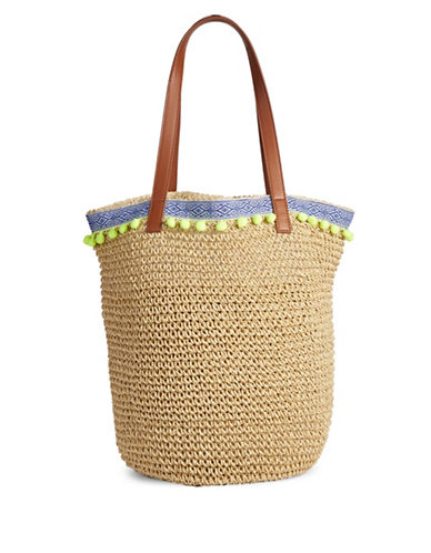 Lord & Taylor Pom Pom Paper Tote Bag-BLUE-One Size