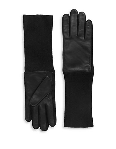 Lauren Ralph Lauren Long Leather-Patch Knit Gloves-BLACK-X-Large