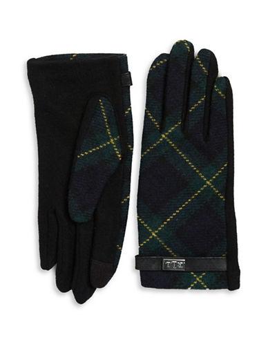 Lauren Ralph Lauren Wool-Blend Plaid Touch Gloves-BLACK-Medium 88550200_BLACK_Medium