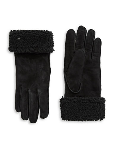 Lauren Ralph Lauren Shearling Cuff Gloves-BLACK-Large