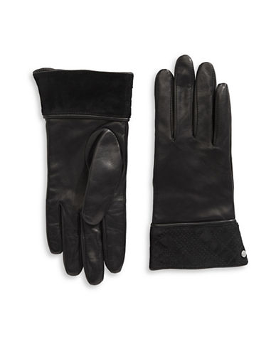 Lauren Ralph Lauren Plaid Suede Cuff  Leather Gloves-BLACK-Medium