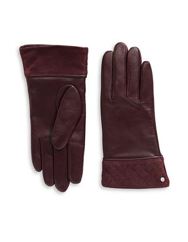 Lauren Ralph Lauren Plaid Suede Cuff  Leather Gloves-RED-X-Large
