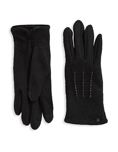 Lauren Ralph Lauren Wool-Blend Touch Gloves-BLACK-Large