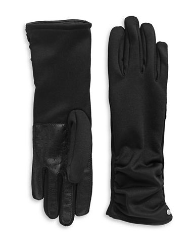 Lauren Ralph Lauren Ruched Touch Gloves-BLACK-Medium