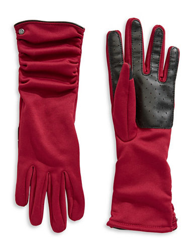 Lauren Ralph Lauren Ruched Touch Gloves-RED-Medium