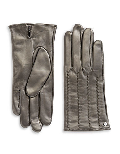 Lauren Ralph Lauren Craft Points Leather Gloves-SILVER-Small