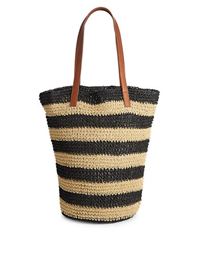Lord & Taylor Striped Paper Tote Bag-BLACK-One Size