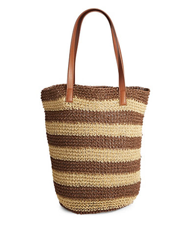 Lord & Taylor Striped Paper Tote Bag-BROWN-One Size