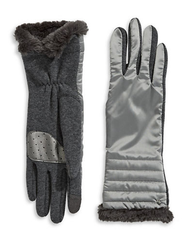 Lauren Ralph Lauren Faux Fur Tip Touchscreen Gloves-GREY-Small
