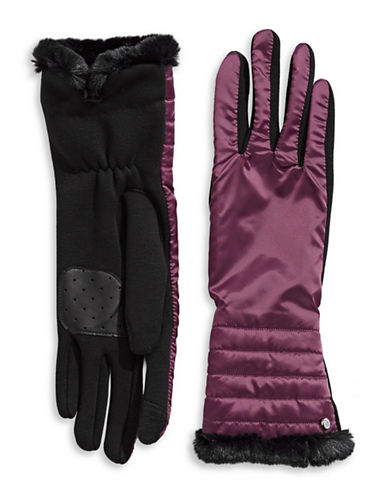 Lauren Ralph Lauren Faux Fur Tip Touchscreen Gloves-PURPLE-Small