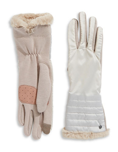 Lauren Ralph Lauren Faux Fur Tip Touchscreen Gloves-NATURAL-Large