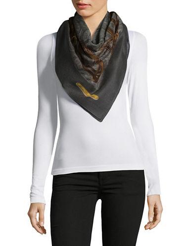 Lauren Ralph Lauren Wool Buckle Print Scarf-GREY-One Size