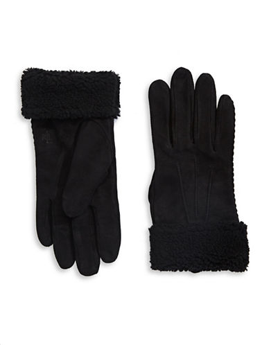 Lauren Ralph Lauren Shearling Leather Gloves-BLACK-Small