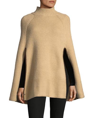Lauren Ralph Lauren Turtleneck Honeycomb Capelet Poncho-CAMEL-One Size