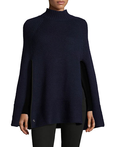 Lauren Ralph Lauren Turtleneck Honeycomb Capelet Poncho-NAVY-One Size