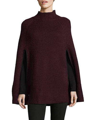 Lauren Ralph Lauren Turtleneck Honeycomb Capelet Poncho-WINE-One Size