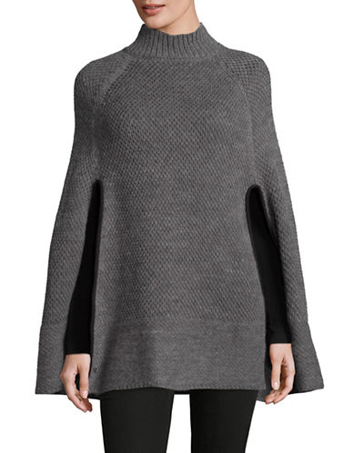 Lauren Ralph Lauren Turtleneck Honeycomb Capelet Poncho-GREY-One Size