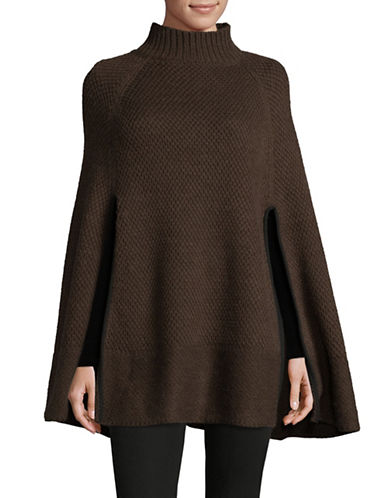Lauren Ralph Lauren Turtleneck Honeycomb Capelet Poncho-BROWN-One Size