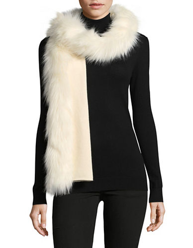 Lauren Ralph Lauren Faux-Fur Trim Scarf-NATURAL-One Size