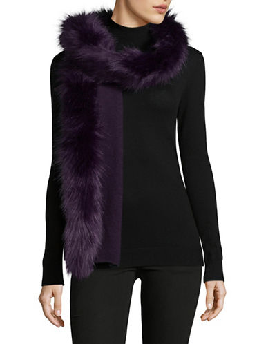 Lauren Ralph Lauren Faux-Fur Trim Scarf-PURPLE-One Size
