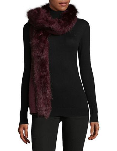 Lauren Ralph Lauren Faux-Fur Trim Scarf-RED-One Size
